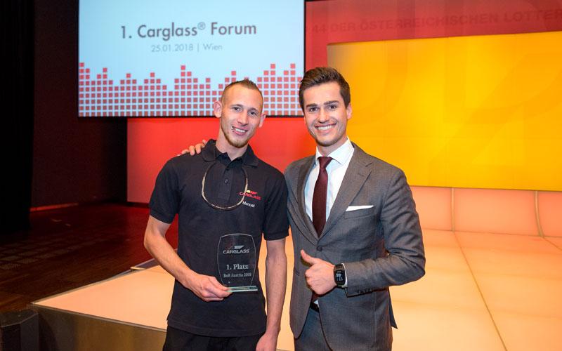 moderator Preisverleihung best of Belron jürgen winterleitner studio 44 wien mit Gewinner Carglass Forum